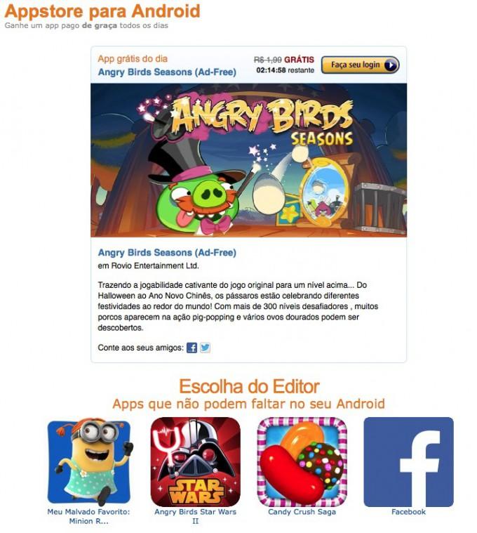 Captura de tela da Loja da Amazon