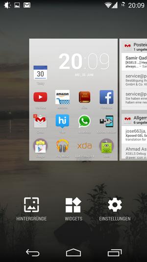 Lancher Google Now modificado pelo Xposed GEL Settings