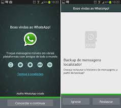 Whatsapp sendo iniciado pela primeira vez e recuperando backup das mensagens