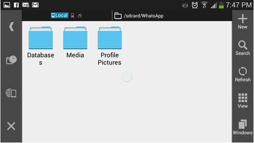 ES File Explorer com as pastas do Whatsapp
