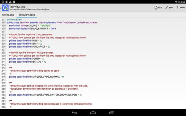 Tela de edição do QuickEdit no Android