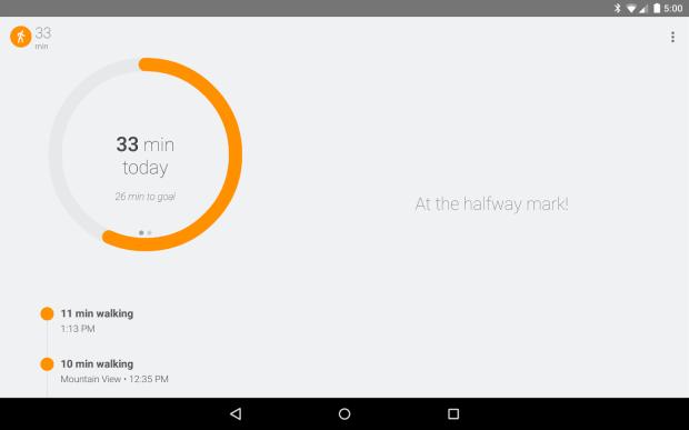Resumo das atividades no Google Fit