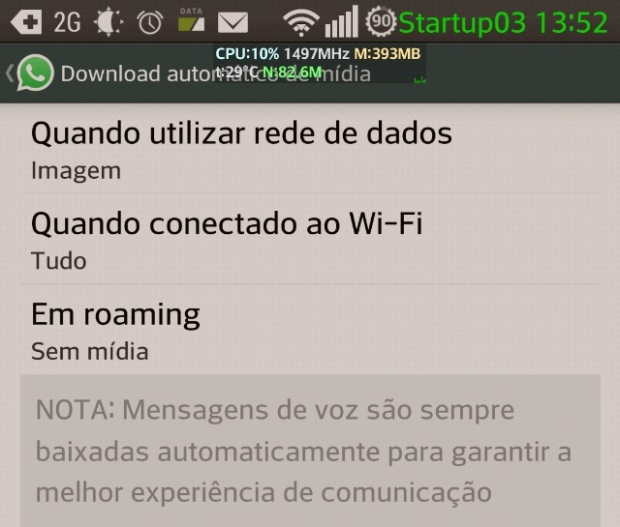 Tela de configuração do download de mídia no Whatsapp