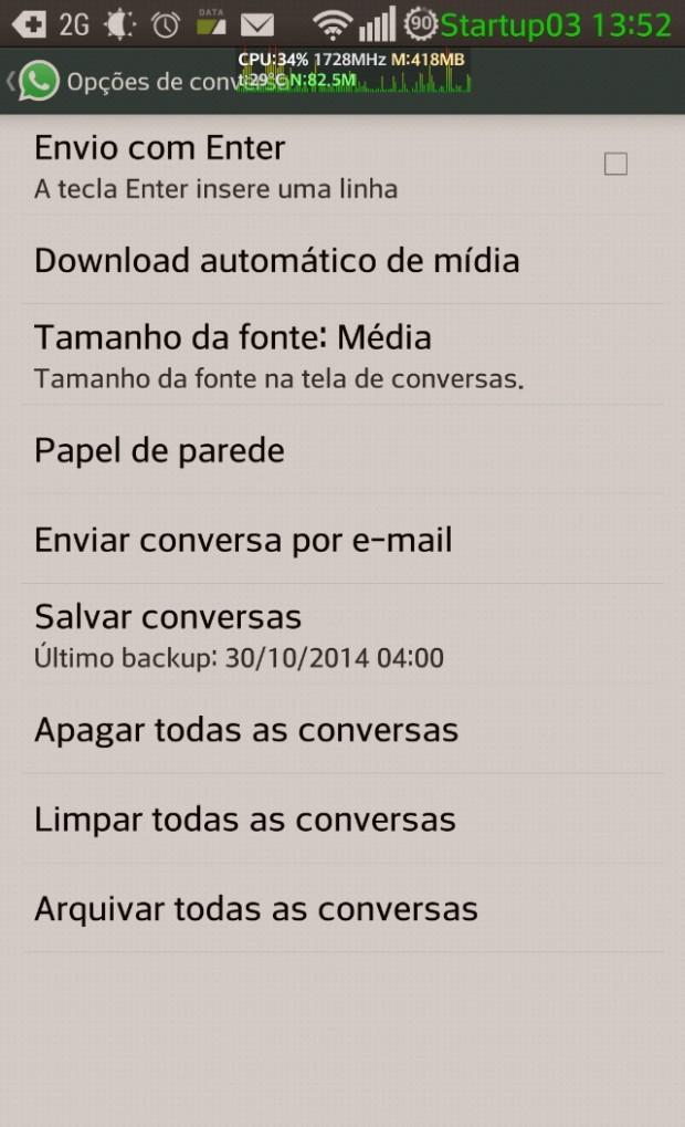 Opção para enviar conversas e arquivos por email no Whatsapp