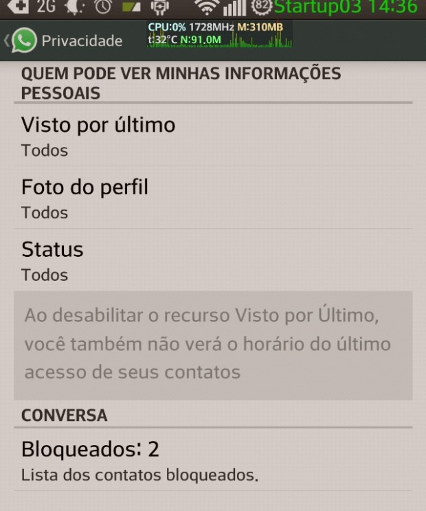 "Local para desabilitar a função ""Visto por último"" no Whatsapp"