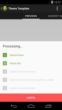 Processo de conversão do tema no Theme Converter
