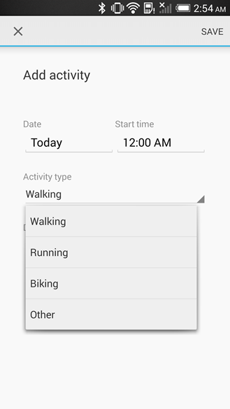 Entrada manual de exercícios no Google Fit
