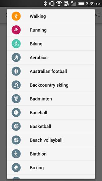 Listagem de atividades no Google Fit