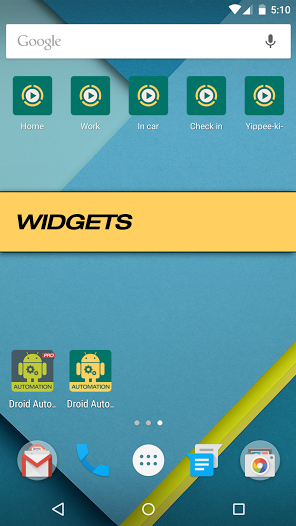 Widgets do Droid Automation
