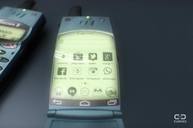 O designer 3D Martin Hajek coloca o Android na sua visão de um possível smartphone Ericsson T28 © Curved