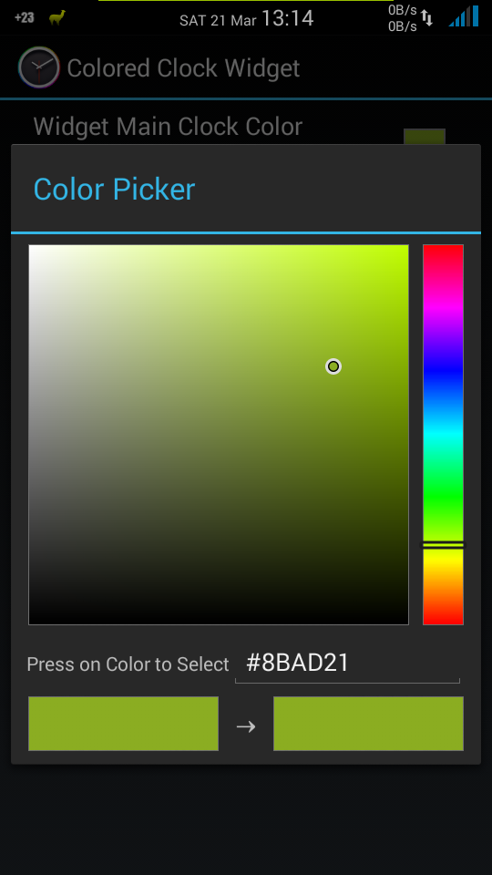 Menu de cores do Clock Widget Colors no Xposed Framework