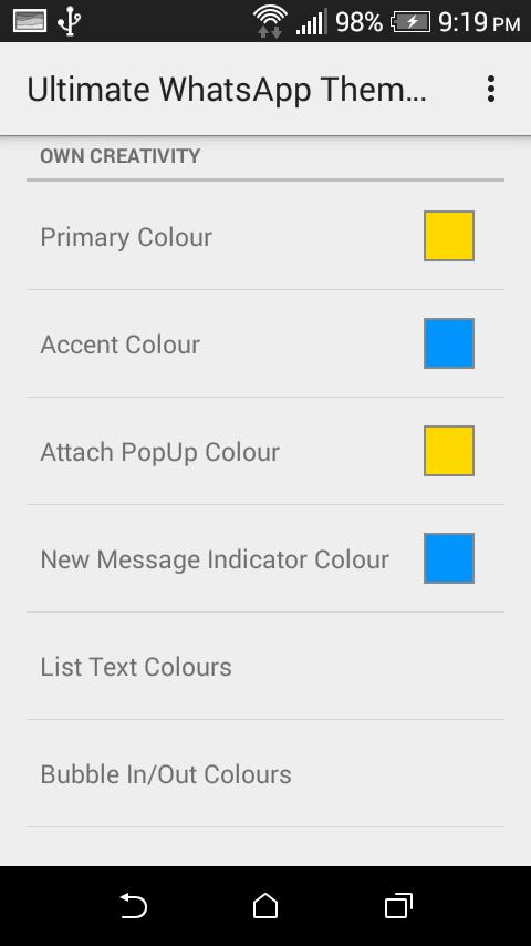 Whatsapp escolhendo cores