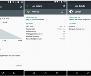 Estatísticas de bateria do Android M
