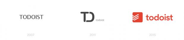 Evolução do logotipo do TodoIst