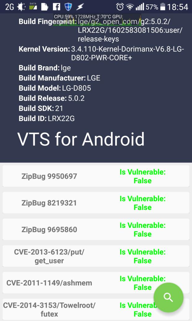 Resultado do VTS para o Android