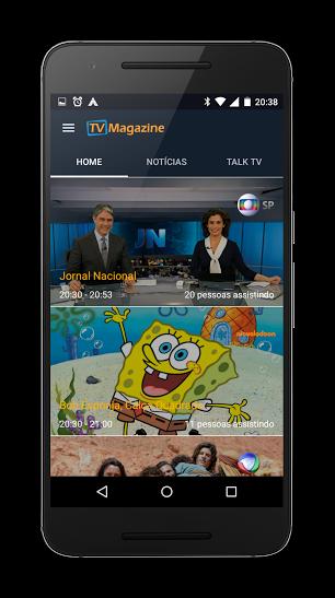 Tela home do app TV Magazine